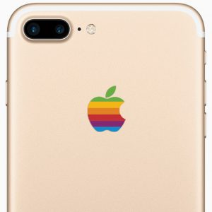 iPhone 7 Plus Retro Rainbow Apple Logo Decal Sticker