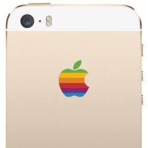 iPhone 5S and iPhone SE Retro Rainbow Apple Logo Decal Stickers