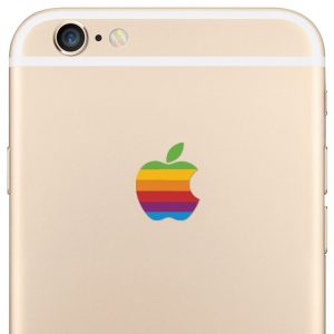 iPhone 6 Plus Retro Rainbow Apple Logo Decal Sticker