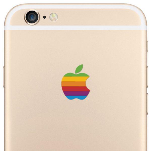 iPhone 6 Plus Retro Rainbow Apple Logo Decal Sticker
