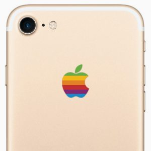 iPhone 7 Retro Rainbow Apple Logo Sticker Decal